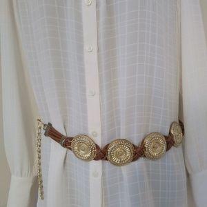 2/$15  Gold Round Ornate Heavy Belt